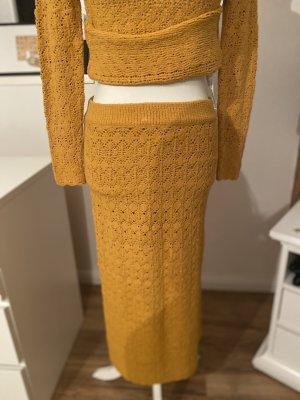 Zara Spódnica z dzianiny złotopomarańczowy