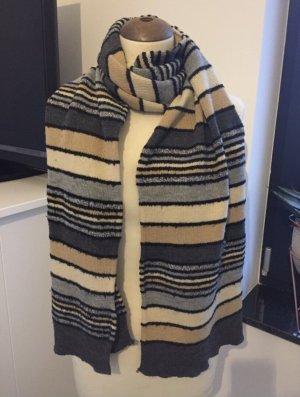 Sciarpa lavorata a maglia beige-grigio ardesia
