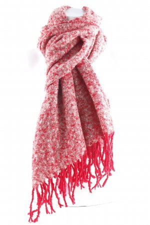 Knitted Scarf light grey-dark red Fringe Trimming