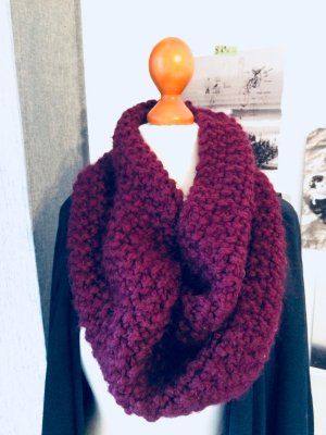Bufanda de punto burdeos lana de alpaca
