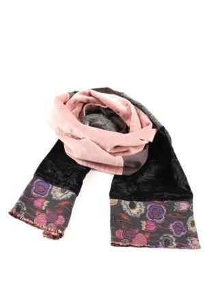 Katto Gebreide sjaal zwart-roze bloemenprint casual uitstraling