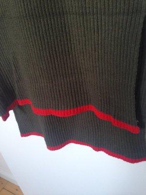 Zara Écharpe en tricot rouge-kaki