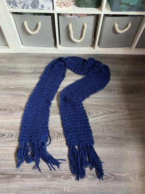 Strickschal Wollschal grobstrick geflochten blau dunkelblau Muster Winter Schal