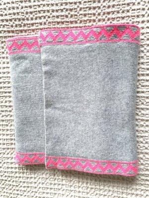 Zwillingsherz Écharpe en tricot gris clair-rose fluo laine