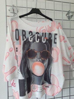Made in Italy Camicia maglia bianco-rosa pallido