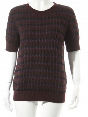 COS Short Sleeve Sweater lilac-dark green mixture fibre