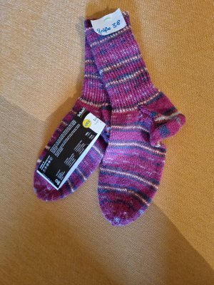 Pantoufles-chaussette violet-gris ardoise