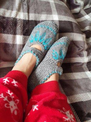 Botas de casa gris claro-azul claro