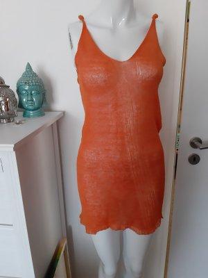 Stefanel Top z falbankami pomarańczowy