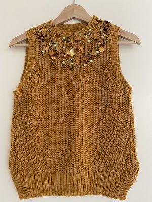 Stricktop H&M mit Perlen und Pailletten senffarben Gr. XS