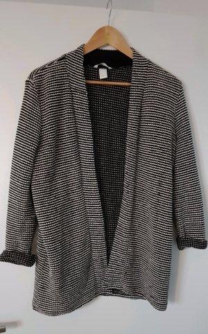 H&M Gilet long tricoté noir-crème