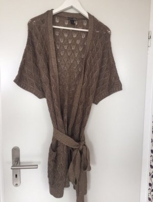 H&M Knitted Wrap Cardigan brown-bronze-colored