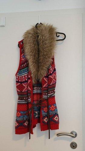 H&M L.O.G.G. Chaleco de piel sintética camel-rojo oscuro