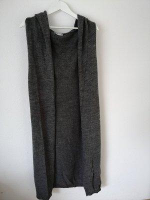 Please Gilet long tricoté gris
