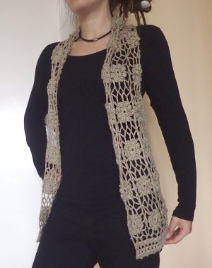 Long Knitted Vest camel-bronze-colored wool