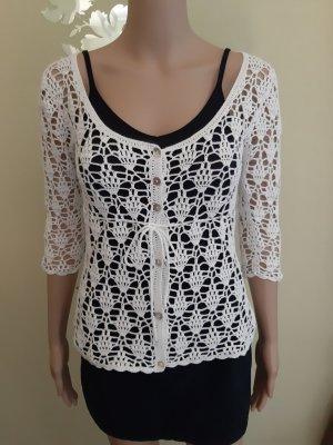 Mango Knitted Cardigan white cotton