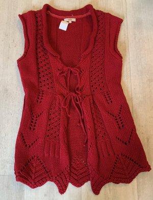 Didi Długi sweter bez rękawów głęboka czerwień Bawełna