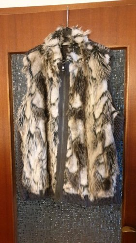 Canda Fake Fur Vest dark grey-oatmeal