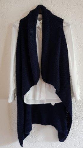 Made in Italy Lang gebreid vest donkerblauw