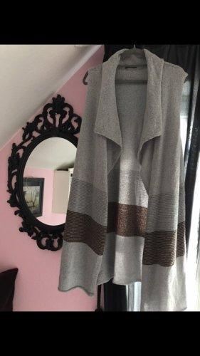 Breuninger Cardigan lungo smanicato grigio-marrone-grigio