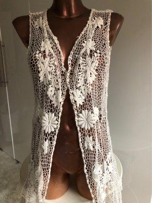 Vero Moda Szydełkowany sweter biały-w kolorze białej wełny
