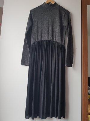 Zara Basic Vestido estilo camisa negro-gris