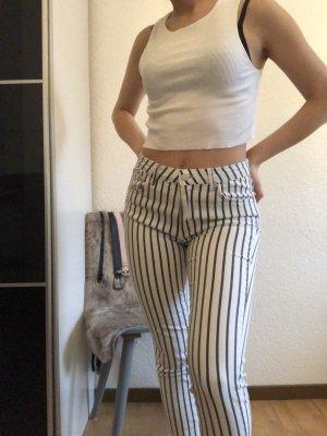 Striped High Waist Jeans Black & White