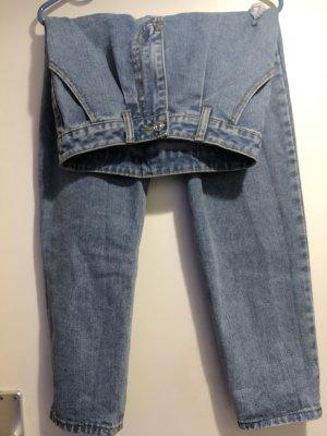 Stripped straight-leg jeans