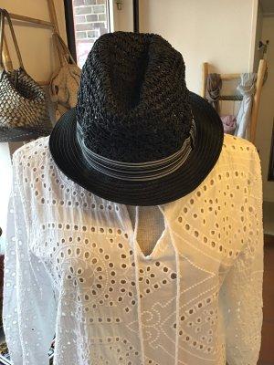 Chapeau de paille noir-blanc tissu mixte