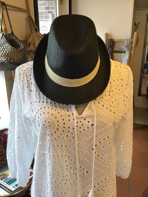 Chapeau de paille noir-blanc cassé tissu mixte
