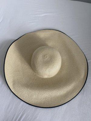 Zara Chapeau de paille beige clair-noir