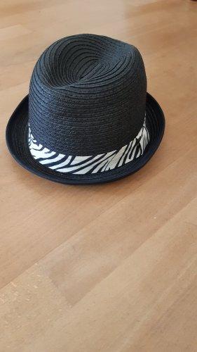 H&M Divided Chapeau de paille noir-blanc cassé
