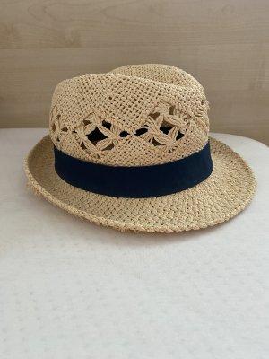 H&M Hoed van stro licht beige-donkerblauw