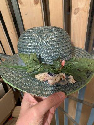 Chapeau de paille bleu pétrole-bleu cadet