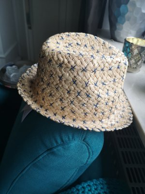 Unmade Cappello di paglia beige-blu Tessuto misto