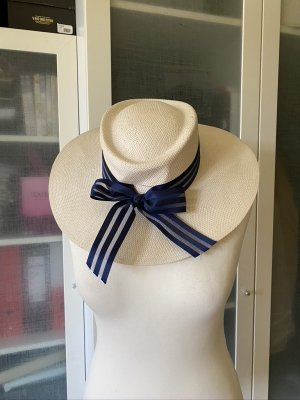 Sombrero de paja blanco puro-azul acero