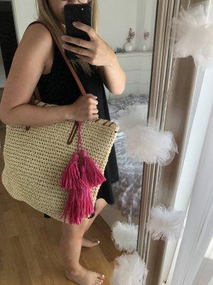 Strohtasche Strandtasche mit Bommel und Quasten
