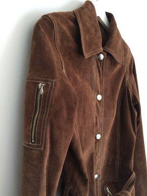 Vero Moda Abrigo de cuero color bronce-marrón oscuro Cuero