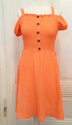 Strukturiertes Kleid in neon orange mit braunen Knöpfen NEU