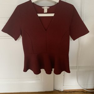 H&M Peplum Top bordeaux-brown red