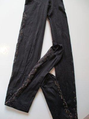 Leggings black-gold-colored nylon
