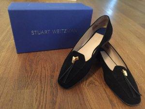 Stuart weitzman Pantofola nero-oro Scamosciato