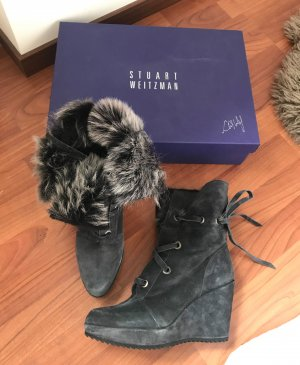 Stuart Weitzman Stiefel Gr. 38,5 Snowbunny grau Limited Edition Winter wedge