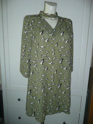 Studio Italy Tunika Kleid Dress mit Stehkragen Vogelprint in Khaki Grün Gr M 38-40