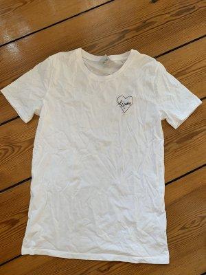 Studio MAR SANS weißes T-Shirt LAmour S Bio-Baumwolle Weiß bestickt S