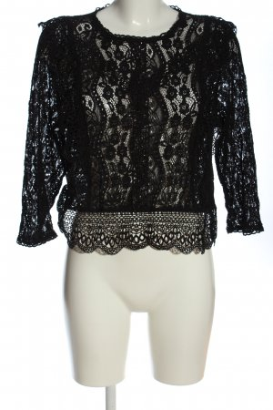 Studio Blusa de encaje negro Patrón de tejido look casual