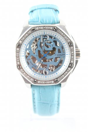 stührling Uhr mit Lederarmband türkis-silberfarben Animalmuster Casual-Look