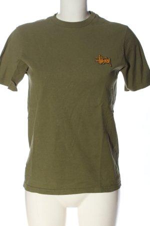 Stüssy T-Shirt khaki-hellorange Schriftzug gedruckt Casual-Look