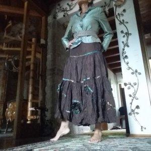 Broomstick Skirt multicolored nylon