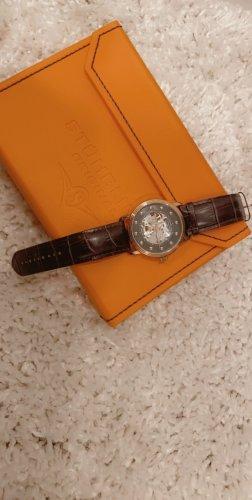 Montre avec bracelet en cuir brun